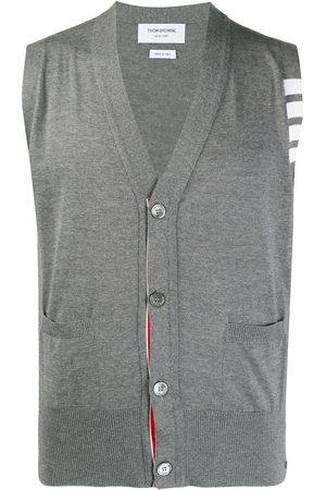 Thom Browne Knitted 4-Bar V-neck vest - 035 MED GREY