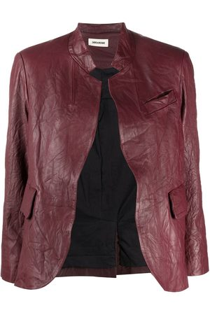 Zadig & Voltaire Women Leather Jackets - Crinkle-effect band collar jacket