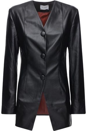 Liya Faux Leather Blazer