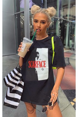 PRETTYLITTLETHING Scarface Printed Oversized T Shirt