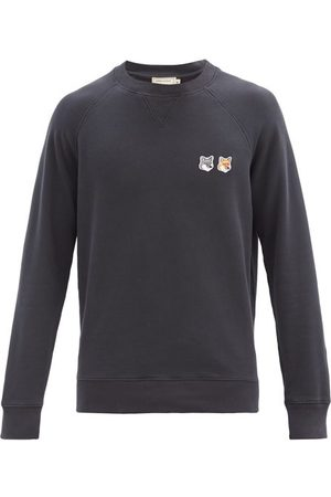 Maison Kitsuné Double Fox Head-patch Cotton Sweatshirt - Mens - Dark Grey