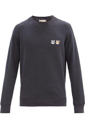 Maison Kitsuné Men Sweatshirts - Double Fox Head-patch Cotton Sweatshirt - Mens - Dark Grey