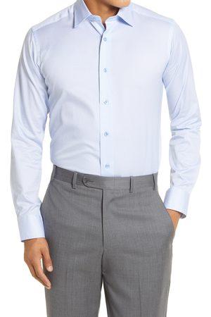 David Donahue Men's Slim Fit Micro Floral Print Dress Shirt
