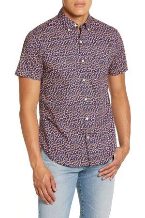 BONOBOS Men's Slim Fit Floral Print Short Sleeve Button-Down Shirt