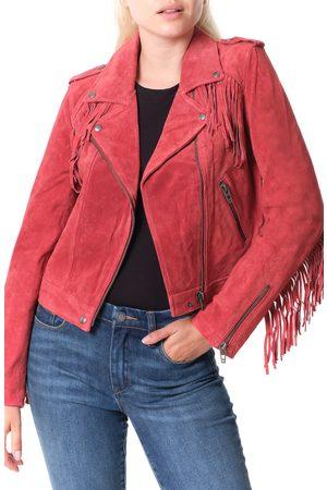 BLANK NYC Women's Fringe Trim Suede Moto Jacket