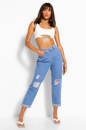 Boohoo Womens High Rise Distressed Dad Jeans - - 2
