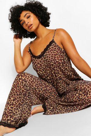 Boohoo Womens Plus Chiffon Leopard Lace Pj Set - - 18
