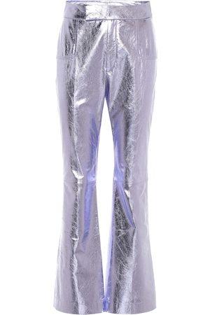 Serafini High-rise leather flared pants