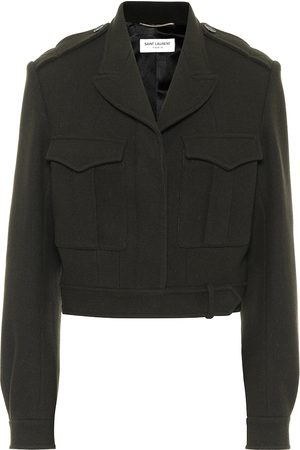 Saint Laurent Cropped wool gabardine jacket