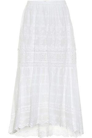 LOVESHACKFANCY Zinnia high-rise cotton midi skirt