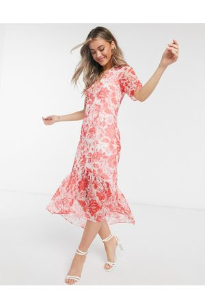 HOPE & IVY Women Printed Dresses - Button front midaxi dress with ruffle hem in floral