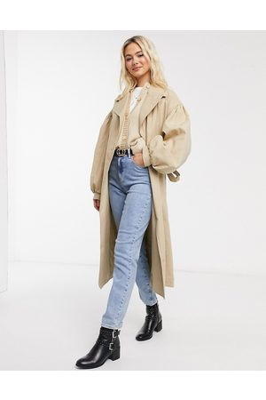 ASOS Trench Coats - Extreme sleeve trench coat in stone