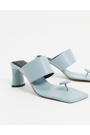 ASOS Vacation premium leather toe post mid-heeled sandals in