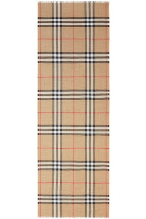 Burberry Mu Giant Check Wool & Silk Gauze Scarf