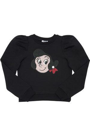 MONNALISA Olivia Embellished Cotton Sweatshirt