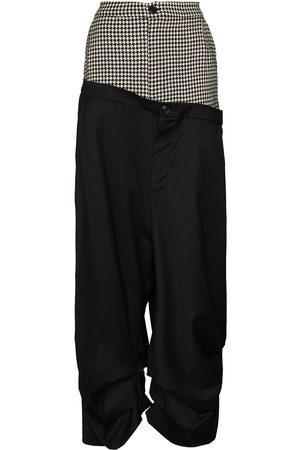 Natasha Zinko Houndstooth check panelled wide-leg trousers