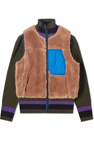 SACAI Men Accessories - Faux Shearling Knit Jacket