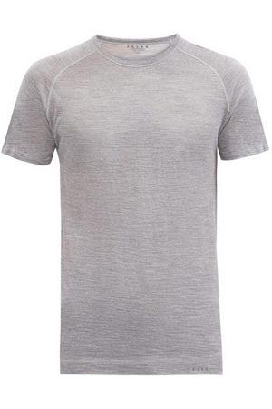 Falke Raglan Sleeve Wool-blend Jersey T-shirt - Mens - Light Grey