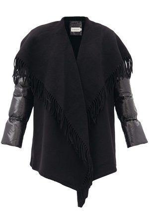 Moncler Women Puffer Jackets - Mantella Padded-sleeves Wool Wrap Jacket - Womens