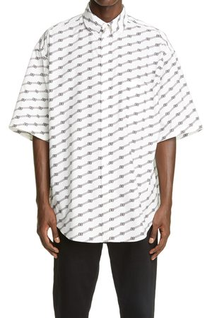 Balenciaga Men's Logo Stripe Oversize Button-Down Shirt