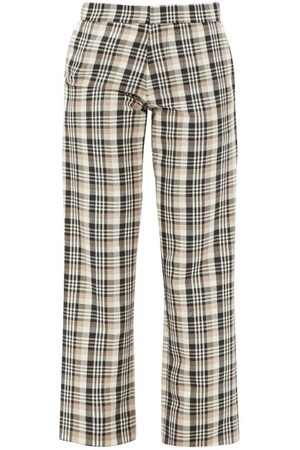 Edward Crutchley Checked Wool Tailored Trousers - Womens - Multi