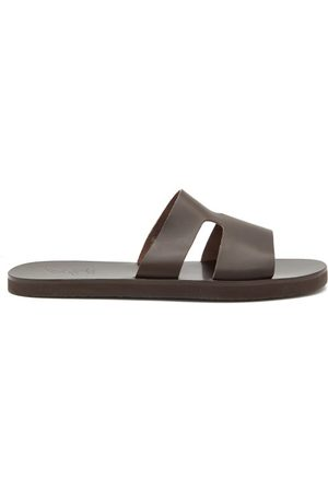 Ancient Greek Sandals Apteros Leather Slides - Mens