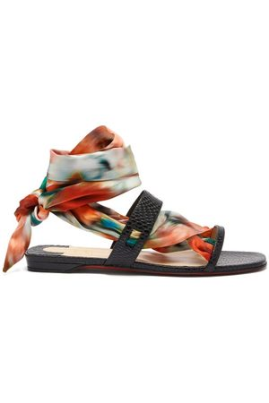Christian Louboutin Foulard Cheville Scarf & Leather Sandals - Womens - Multi