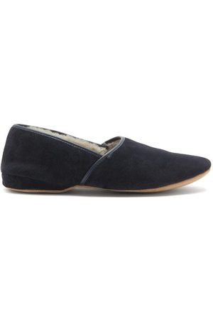 DEREK ROSE Crawford Shearling-lined Suede Slippers - Mens - Navy