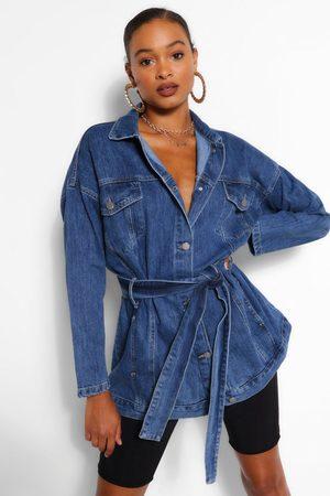 Boohoo Womens Denim Longline Oversized Belted Jacket - - 2