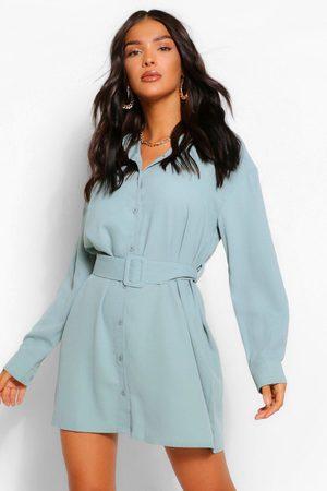 Boohoo Womens Belted Button Down Long Sleeve Shirt Dress - - 12