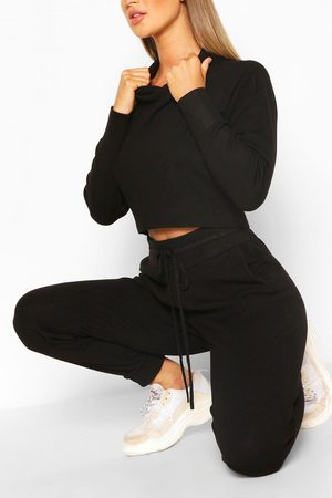 Boohoo Womens Knitted Crop Hoody & Jogger Co-Ord - - S