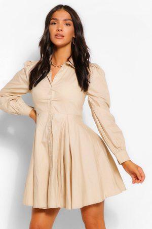 Boohoo Womens Cotton Balloon Sleeve Pleat Detail Shirt Dress - - 4