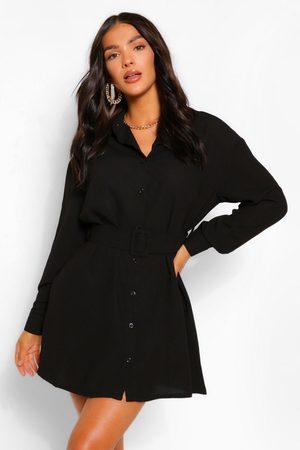 Boohoo Womens Belted Button Down Long Sleeve Shirt Dress - - 4