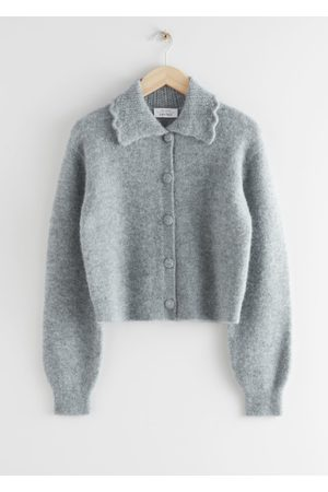 & OTHER STORIES Statement Collar Knit Cardigan - Grey