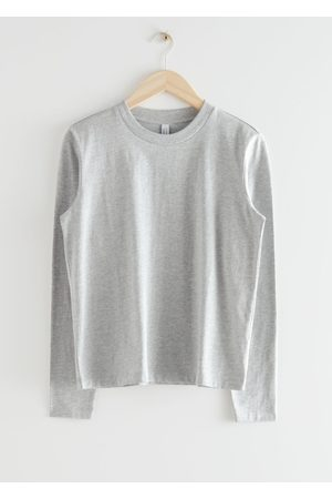 & OTHER STORIES Organic Cotton Long Sleeve T-Shirt - Grey