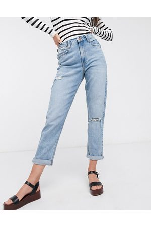 New Look Mom jeans with rips in light