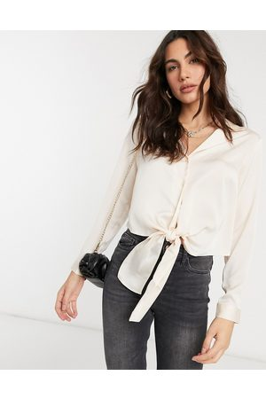 ASOS Long sleeve satin shirt with tie front in almond