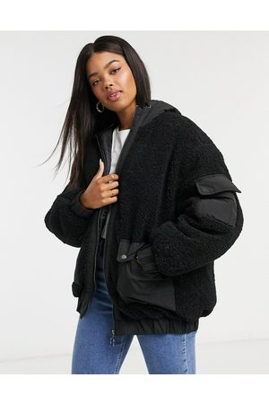 ASOS Fleece patched bomber jacket in