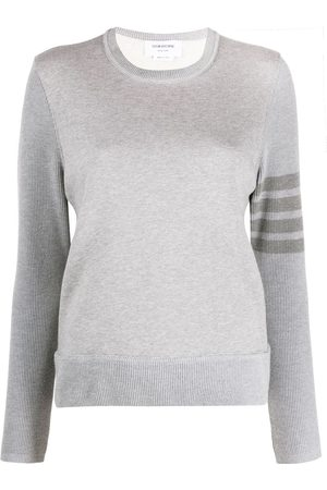 Thom Browne Crew neck sweatshirt in classic loopback with 4-bar - Grey
