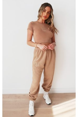 PRETTYLITTLETHING Taupe Established Slogan Casual Joggers