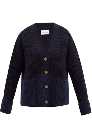 Moncler Two-tone Ribbed Wool-blend Cardigan - Womens - Navy