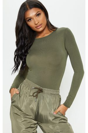 PRETTYLITTLETHING Basic Khaki Longsleeve Fitted T Shirt