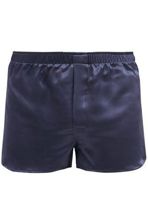 DEREK ROSE Bailey Silk-satin Boxer Shorts - Mens - Navy