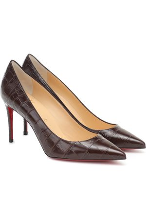 Christian Louboutin Kate 85 croc-effect leather pumps