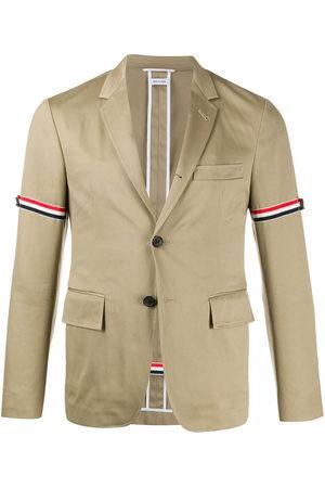 Thom Browne Men Blazers - Unconstructed grosgrain armband sport coat - Neutrals