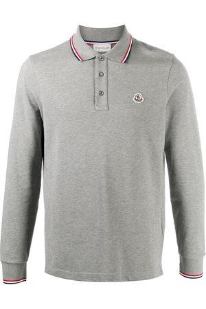 Moncler Logo patch stripe detail polo shirt - Grey