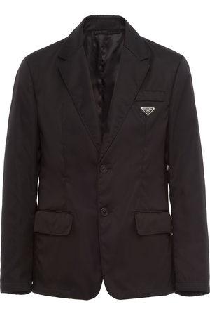 Prada Men Blazers - Logo-plaque single-breasted blazer