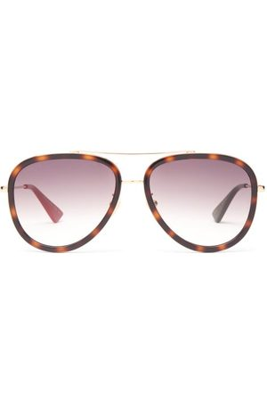 Gucci Tortoiseshell-effect Acetate Aviator Sunglasses - Womens
