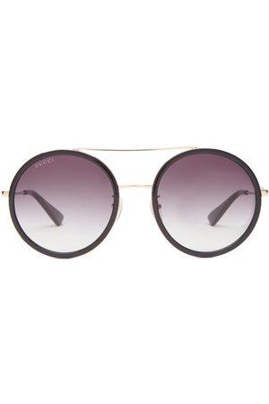 Gucci Round Metal Sunglasses - Womens - Grey
