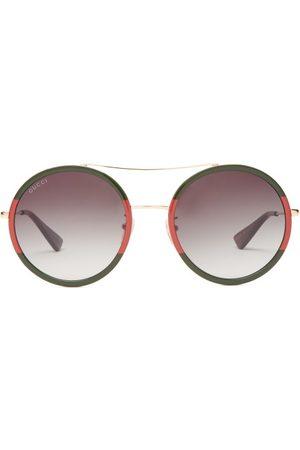 Gucci Web Stripe Round Acetate And Metal Sunglasses - Womens